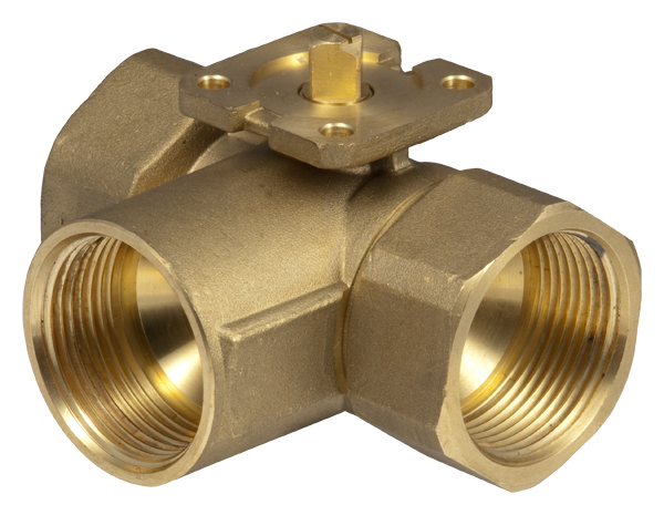 3-way changeover ball valve (T) with female thread, PN 40
