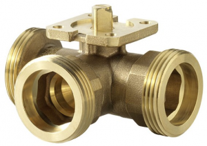 3-way regulating ball valve with male thread, PN 40